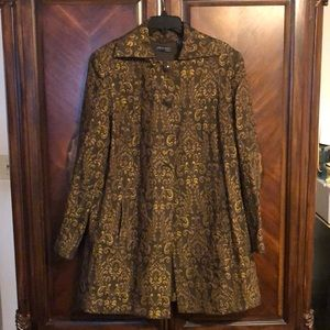 Plus size, brown and gold coat.